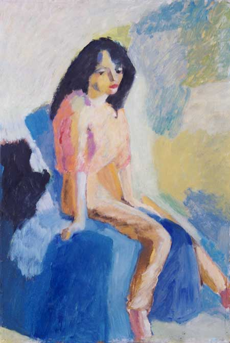 girl in light,  oil on masonite 75 x 110 cm
